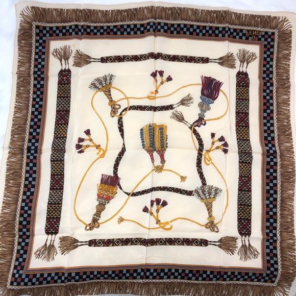 Authentic vintage Fendi rare find 100% silk scarf